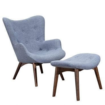 Slate Blue Catalano Chair Walnut