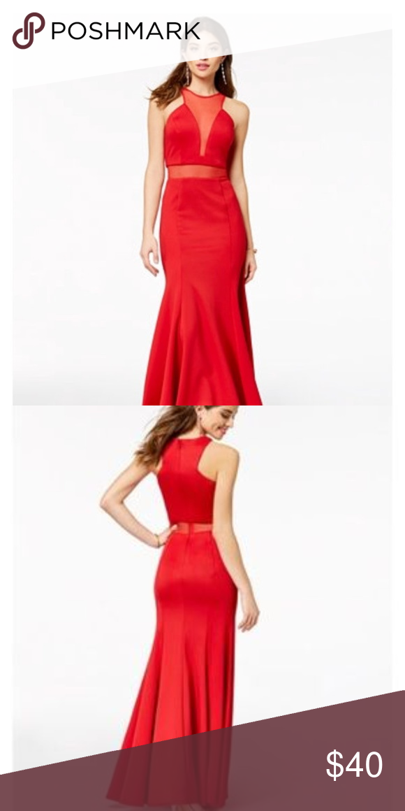 New As U Wish Long Red Prom Gown Sexy Mesh Boutique | Dress prom ...