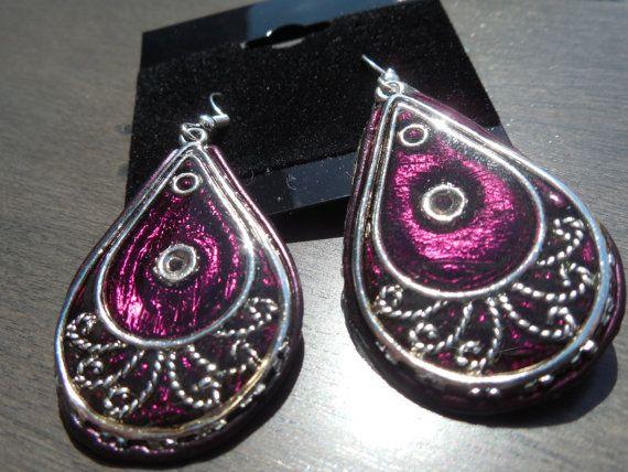 Mauve burgundy earring very light earring drop earring by CO2Bijou