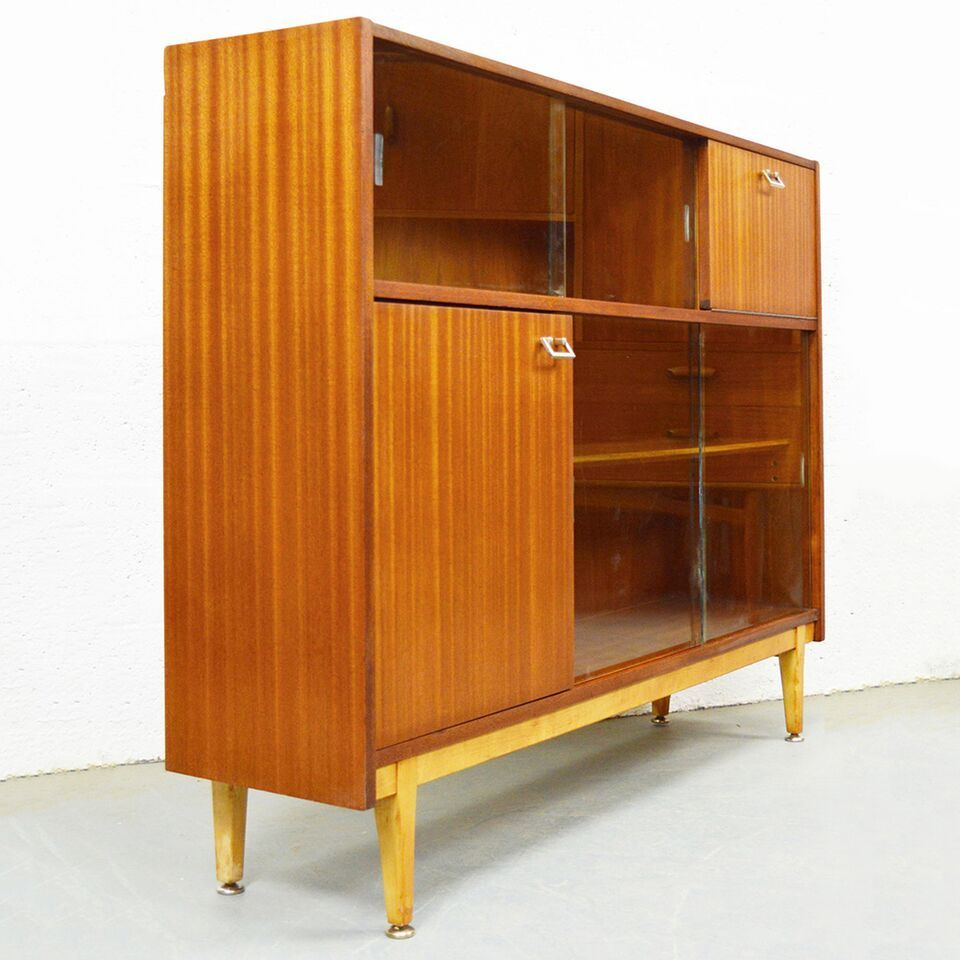 Mid Century Vintage Teak Glass Display Bookcase Cabinet