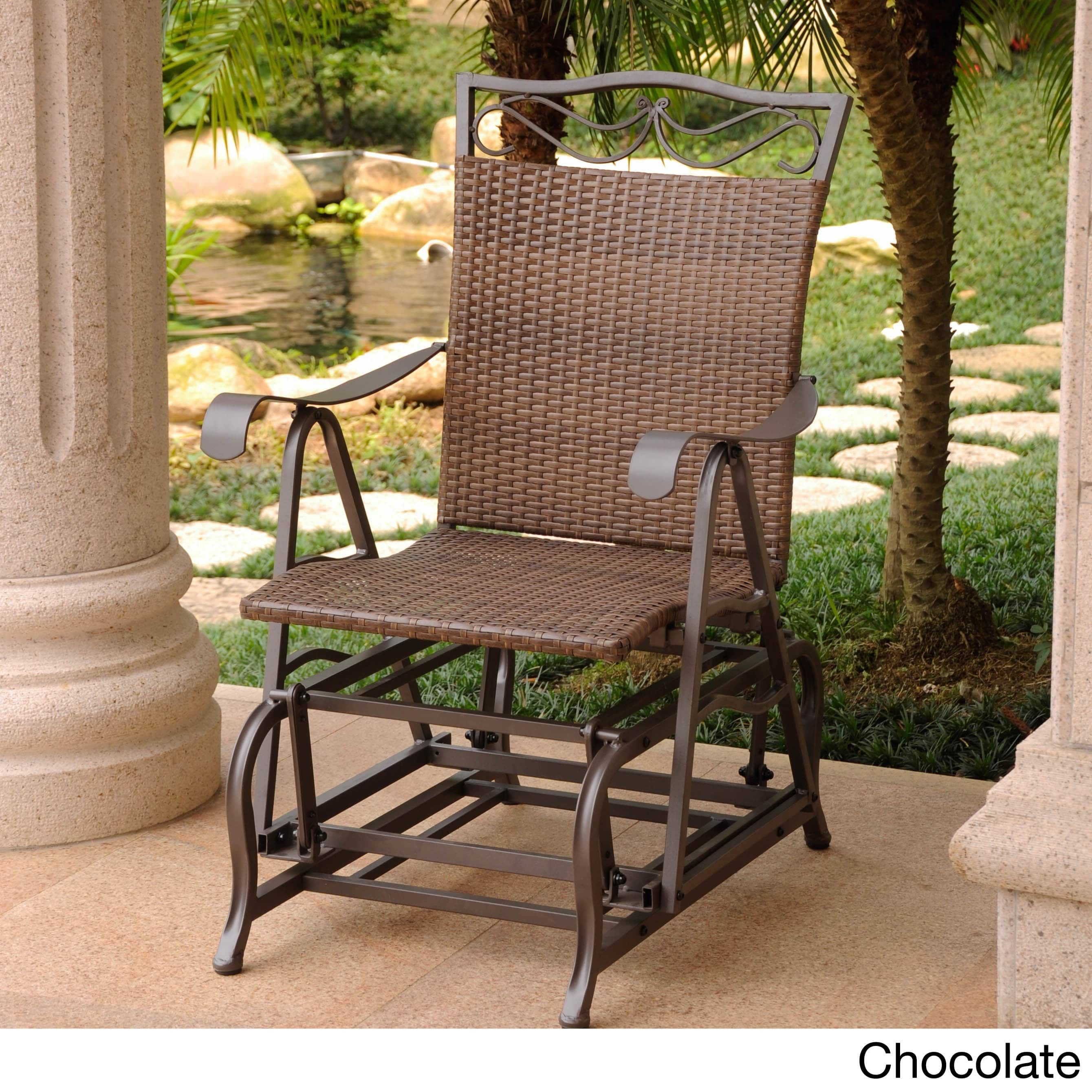 International Caravan Valencia Resin Wicker Steel Frame Single Glider Chair Chocolate Brown Patio Furniture Metal