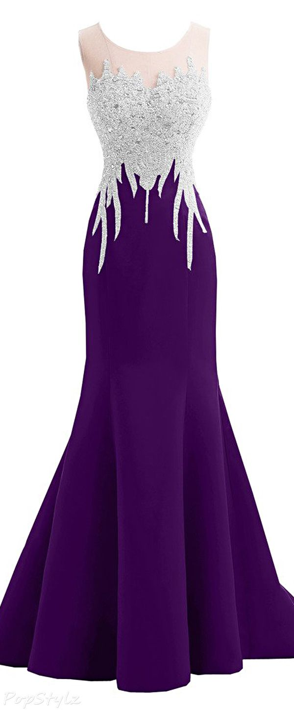 Sunvary Satin & Beads Mermaid Formal 2016 Gown | Trajes de Noche ...