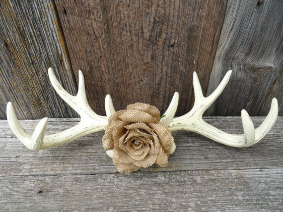 Wall Antlers Faux Taxidermy Ivory Burlap Flower Antler Mount Distressed Shabby Chic Decor Rustic Country Wedding