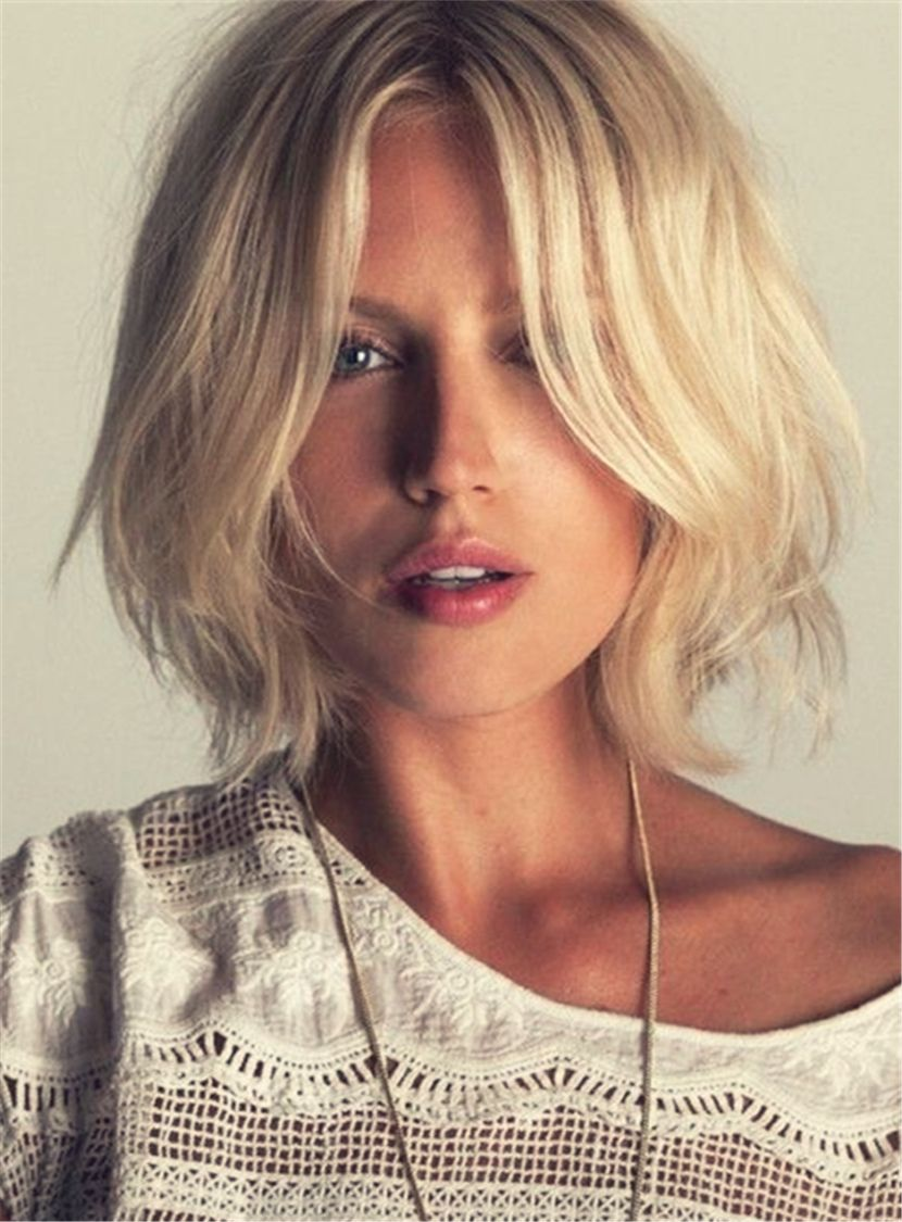 Blonde Bob Hairstyle Synthetic Hair Straight Lace Front Cap Women ...