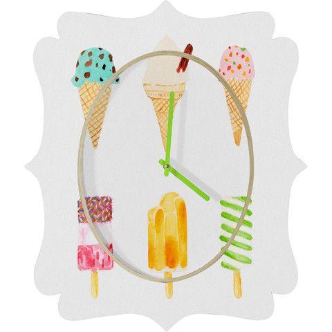 Laura Redburn Ice Cream Selection Quatrefoil Clock #icecream #sweets #dessert #summer #pastel