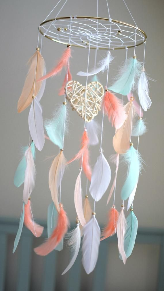 Coral Mint Nursery Mobile Baby Mobile Dream Catcher, Baby Girl Gift, Baby Shower Decor