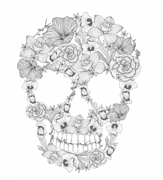 Sugar Skull Coloring Page For Adults Skull Coloring Pages Sugar Skull Tattoos Flower Skull