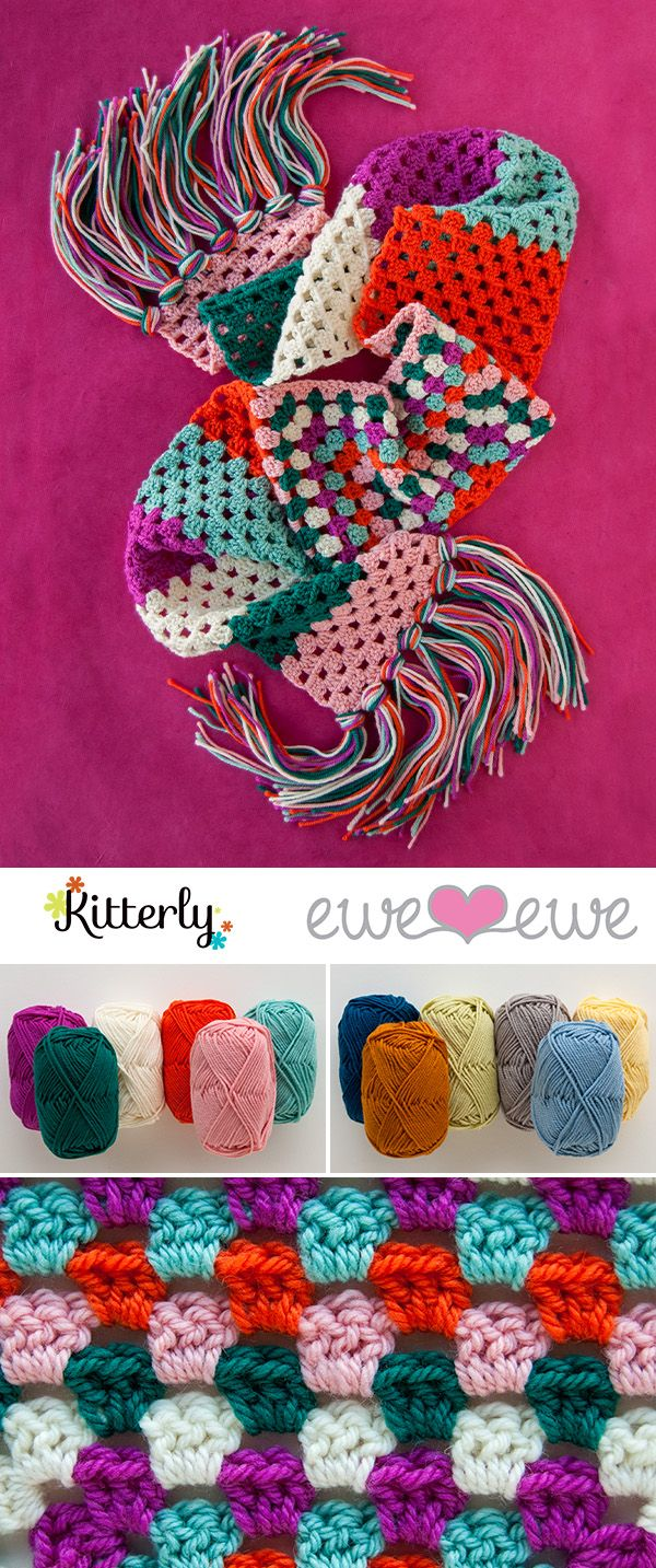 Modern crochet is just so cute. Take your favorite colors and make this adorable half granny square scarf. The Mile of Smile uses 6 colors of Wooly Worsted yarn and finishes off with some epic fringe! #kitterly #kitterlykits #crochetkits #eweewe #crochetscarf