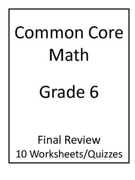 6th Grade Common Core Math Final Review Worksheets | Teaching Ideas ...