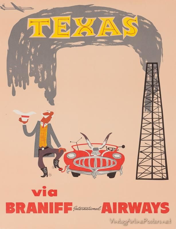 Image of a vintage travel poster by Braniff International Airways   vintageposter  texas  travel 47d382f0cf2e