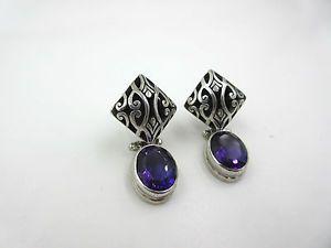 Vintage Oval Amethyst STERLING Silver Open work Dangle Pierced Swivel EARRINGS  | eBay