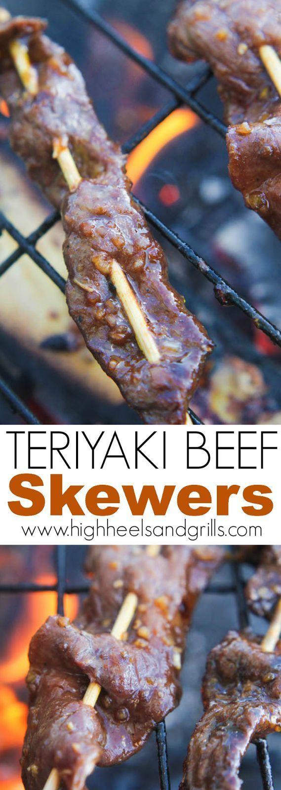 Teriyaki Beef Skewers | High Heels and Grills