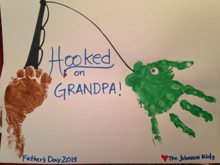 Father's Day gift. Handmade. Grandpa gift. Fishing handprint. Craft #grandpabirthdaygifts