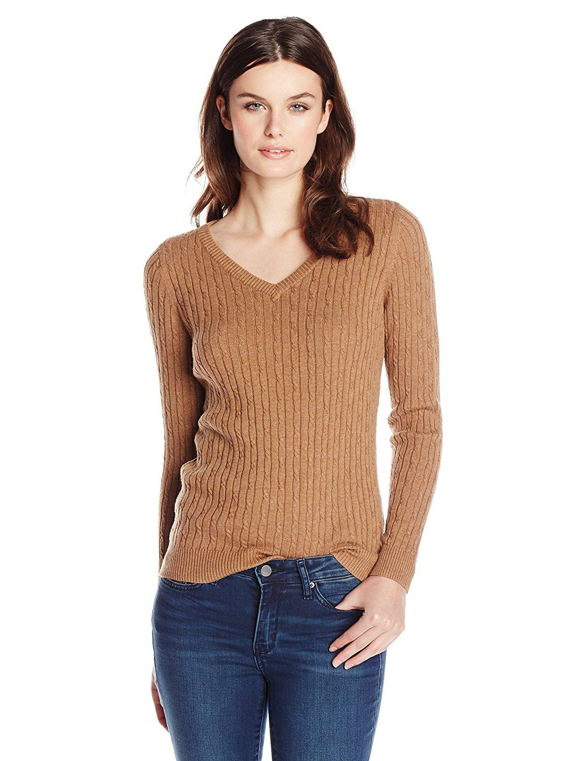 Women's Basic Round or V-Neck Twisted Cable Knit Pullover Sweater ...