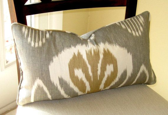 Kravet Bansuri Slate Ikat Pillow Cover by trendypillows on Etsy, $35.00