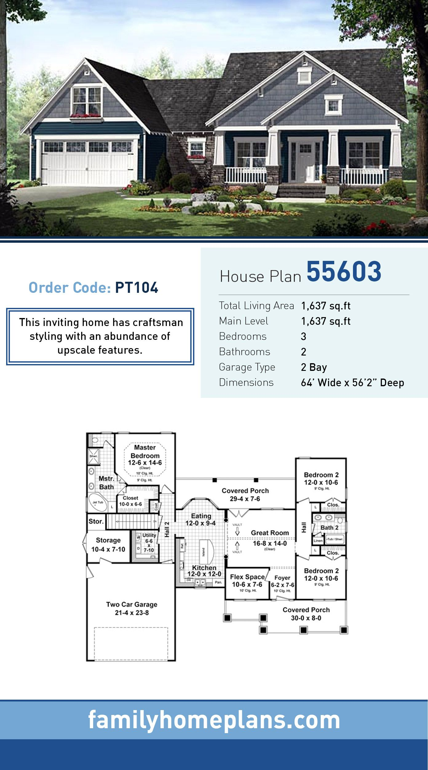 Cottage Style House Plan Number 55603 with 3 Bed, 2 Bath, 2 Car Garage #craftsmanstylehomes