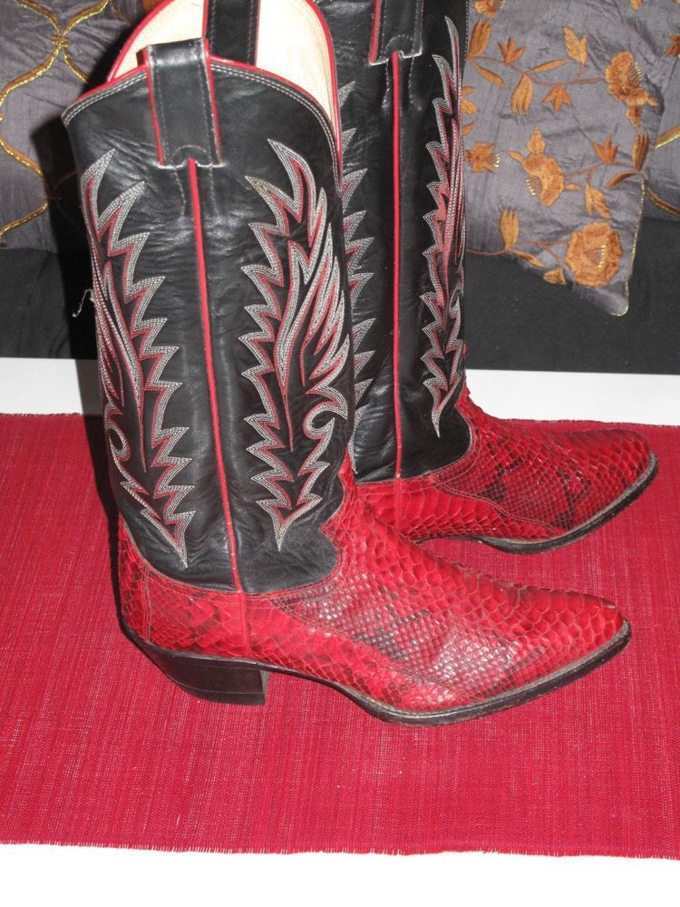 0e1797e53b6 VTG Justin Red Snakeskin Women's Cowboy Cowgirl Western Boots 6.5 C ...