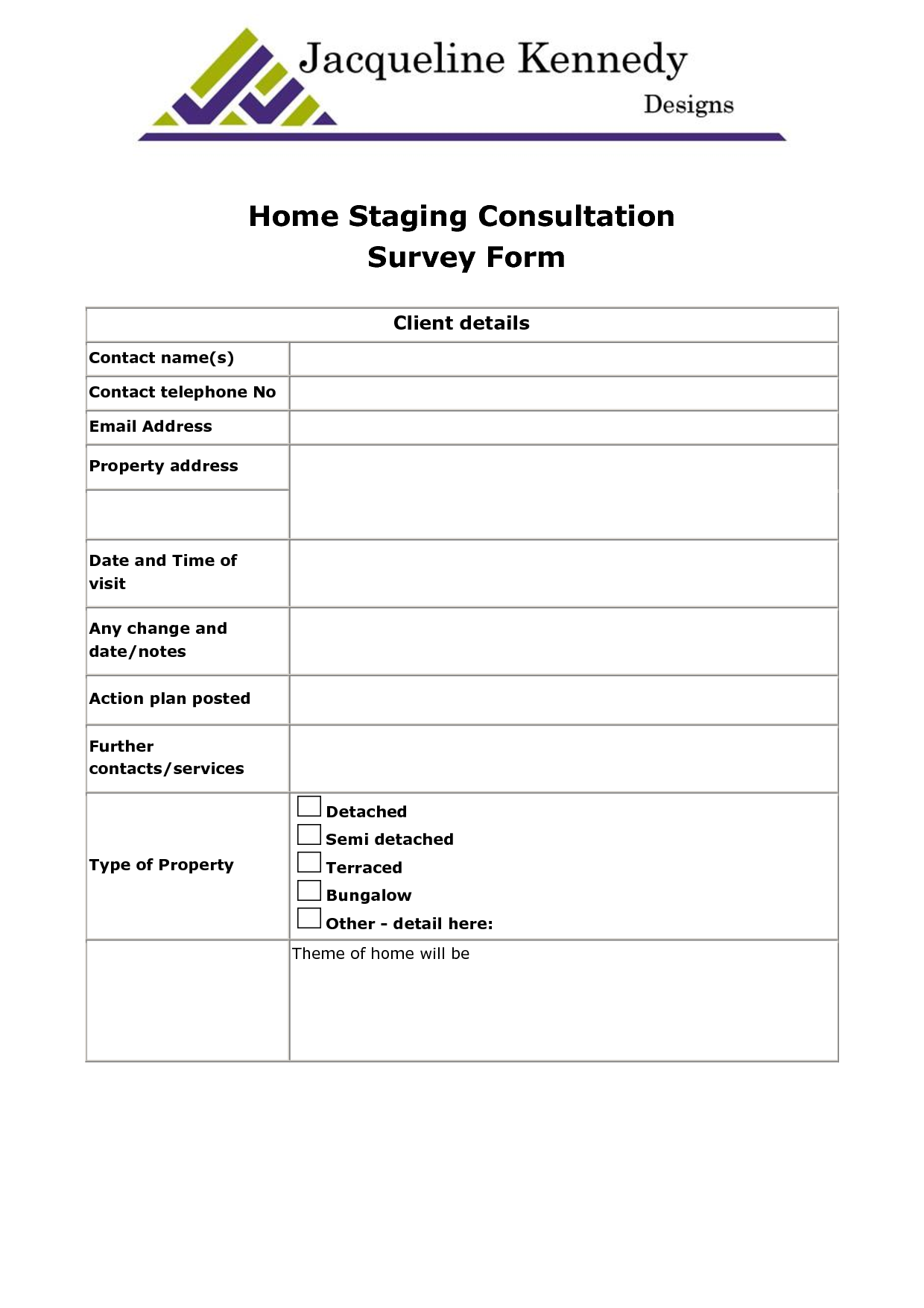 Interior Design Consultation Checklist