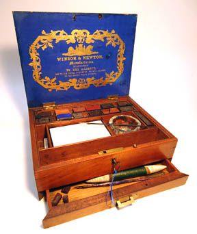 An Historical Treasure Box An Early Victorian Watercolor Set In
