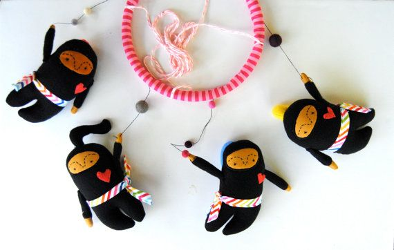 Baby Mobile   Ninja Girls   Customize Colors by PinkCheeksStudios, $120.00