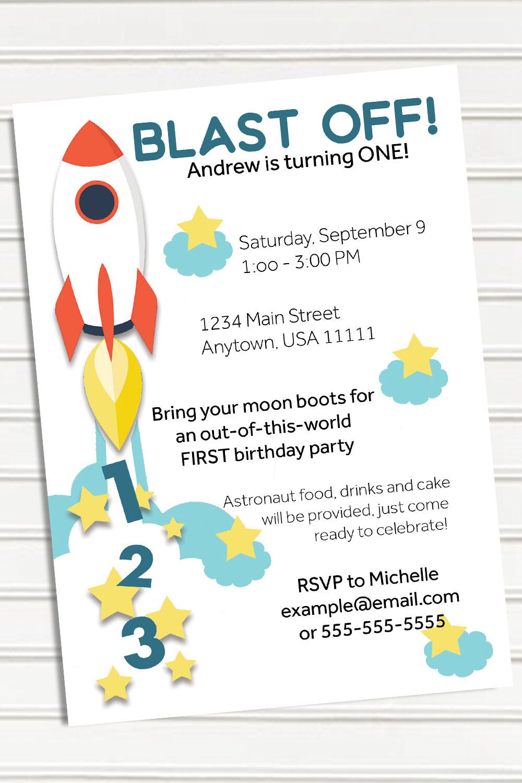 Outer Space Birthday Invitation, Rocket Ship birthday ...
