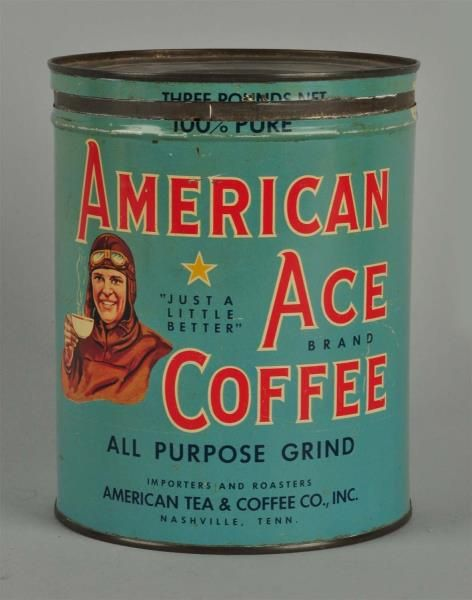 American Coffee Tin Post Wwi You Can Tell By His Aviator Outfit Coffee Tin Vintage Tins Coffee