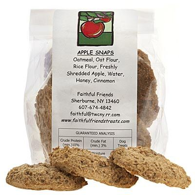 Apple Snaps Dog Treats - For the good dog, these treats are made with the goodness of shredded apple, honey and cinnamon. Made right here in Upstate New York, each package contains 6 cookies. $3.99