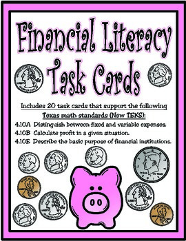 Financial Literacy Task Cards Texas 4th Grade Math Teks 410a