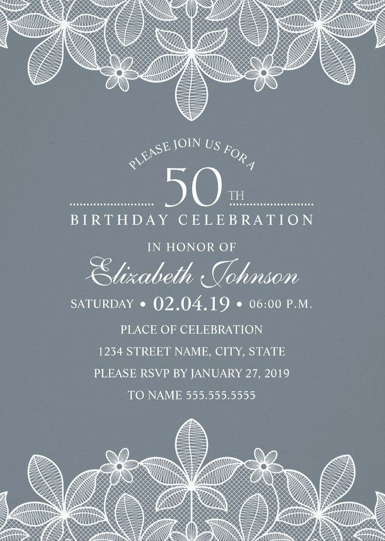 Elegant Lace 50th Birthday Invitations Creative Luxury Cards