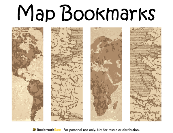 Free printable map bookmarks download the pdf template at http bookmarkbeecom bookmark map for Printable bookmarks pdf