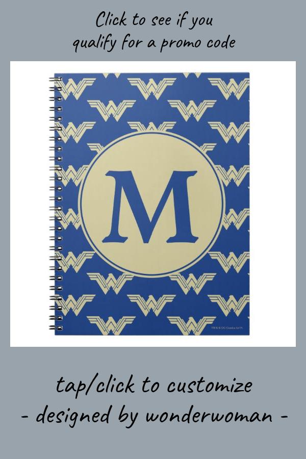 Monogram Wonder Woman Logo Pattern Notebook #monogram #zmonogram #template #text #custom #Notebook