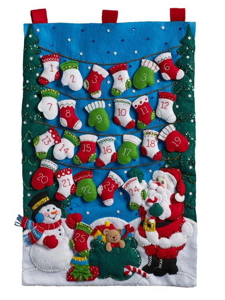 17 by 24-Inch 86584 Nordic Tree Bucilla Felt Applique Advent Calendar Kit