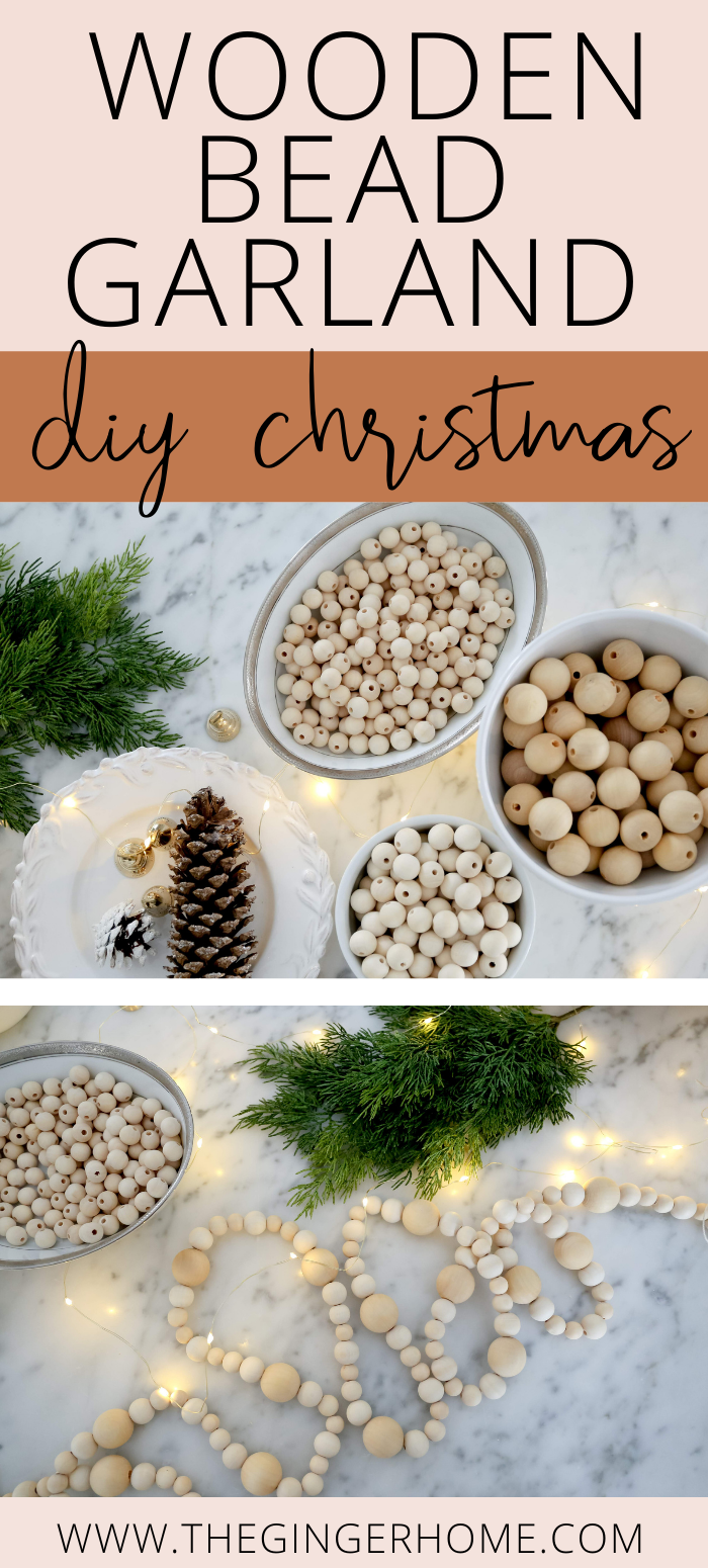 WOODEN BEAD GARLAND FOR CHRISTMAS TREE -   19 christmas decor diy how to make ideas