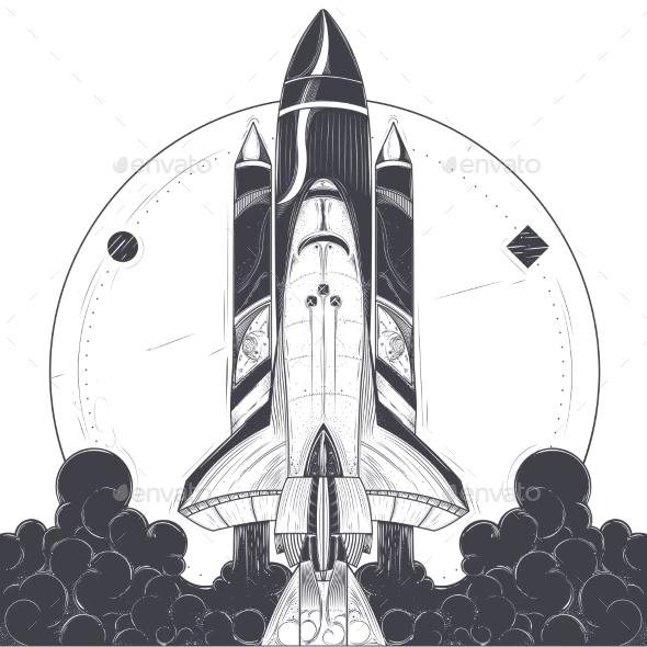 Rocket Launching Business Illustration Illustration Vintage Rockets Children Illustration
