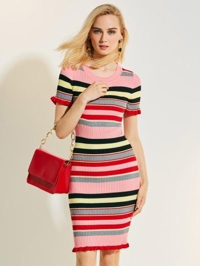 5d5e9450560 Color Block Stripe Sweater Dress Beautiful Dresses For Women