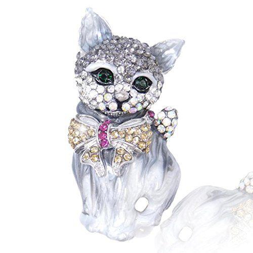 EVER FAITH® Austrian Crystal 3D Lovly Cat Bow Brooch Pin B8ekywJX