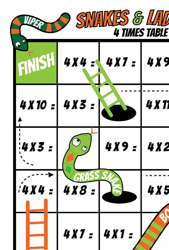 Printable Times Tables Game Snakes And Ladders Kids Board Game