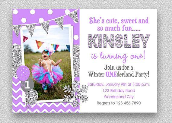 S 1st Birthday Invitation Chevron Wonderland Snowflake
