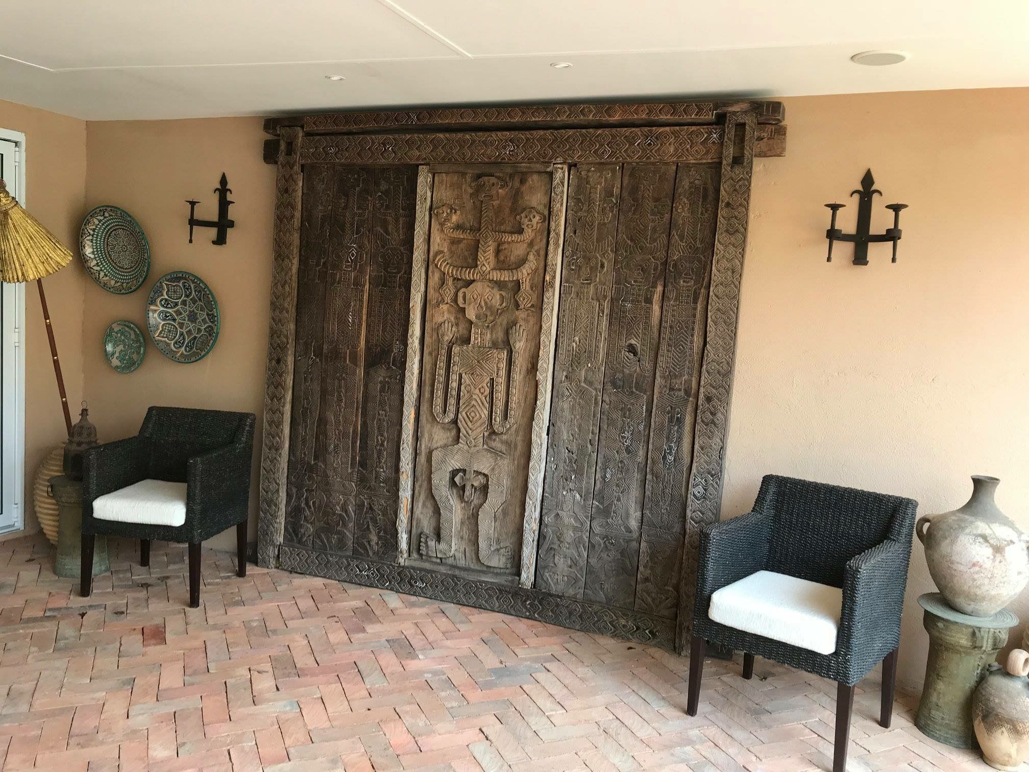 African art antique wood panel for covered terrace African