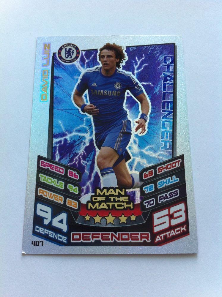 Match Attax 12/13 David Luiz Chelsea Challenger Shiny