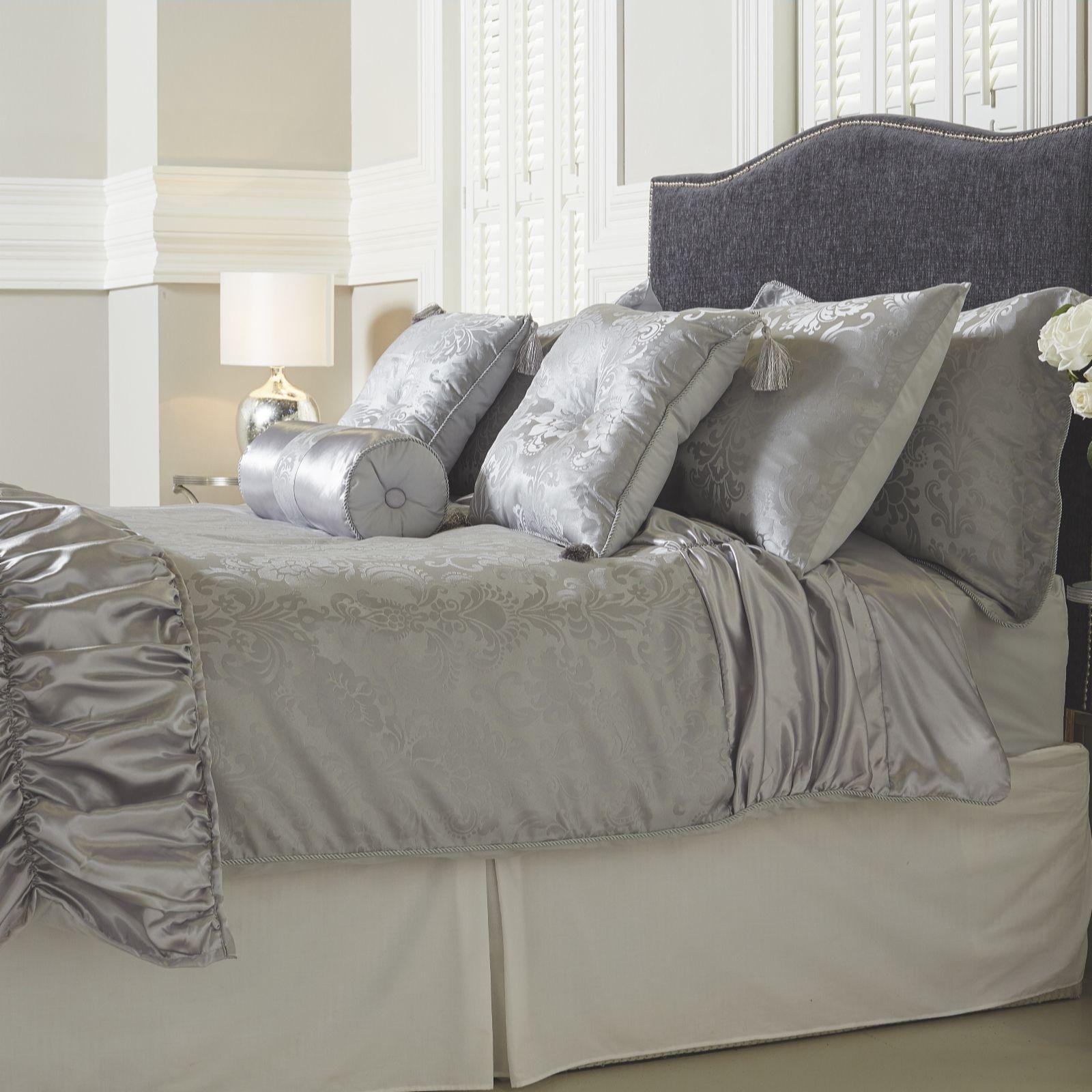 Mayfair Manor Ruffle Satin Damask Jacquard 10 Piece Bedding ...