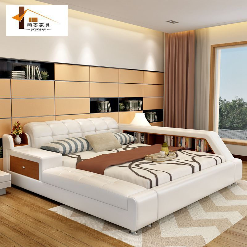 Bedroom Furniture China Leather Bed Tatami Bed Minimalist Modern Double Bed Width Includes 1 5