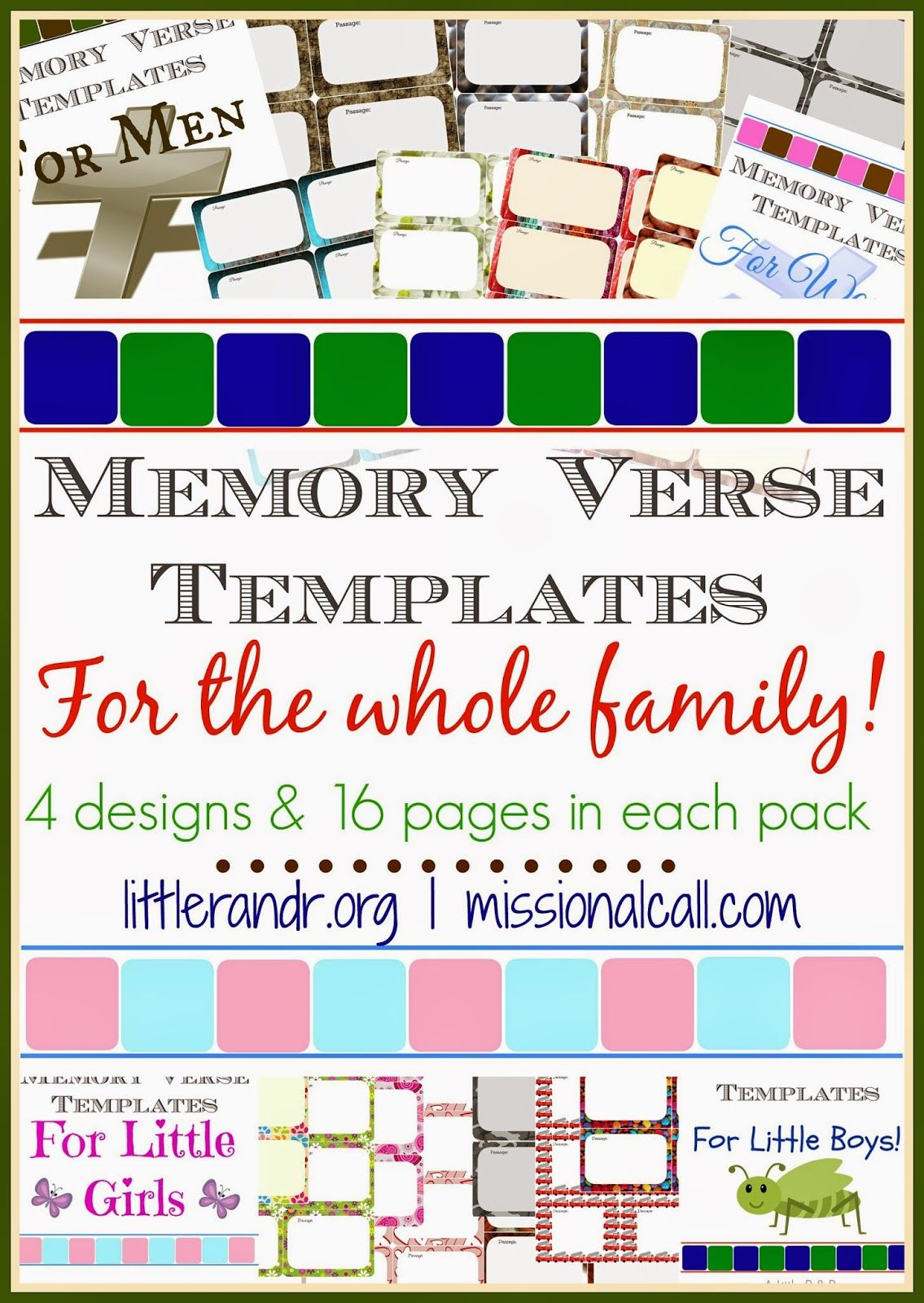 Memory Verse Templates For The Whole Family