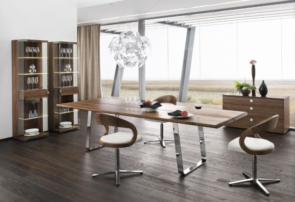 Moderne Esszimmermöbel Ideen holz chrom weißer leder Jantar