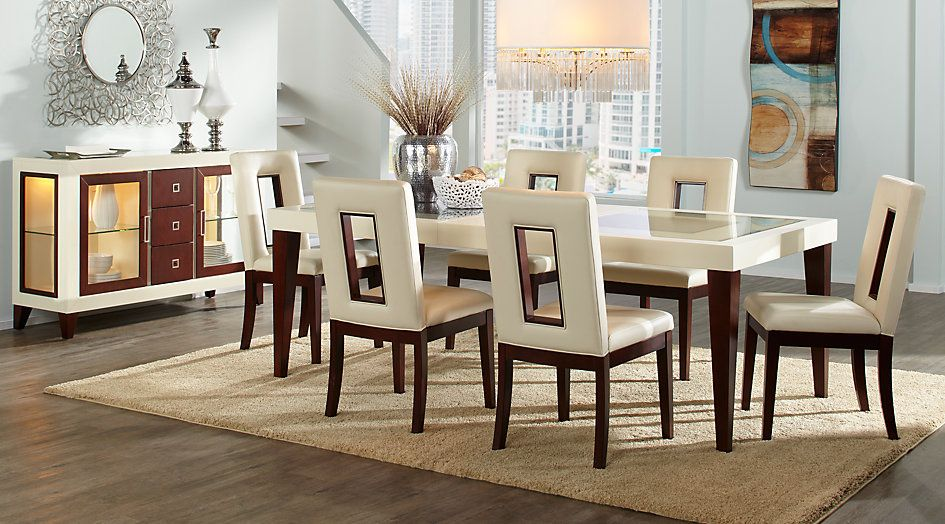 Picture Of Sofia Vergara Savona Ivory 7 Pc Rectangle Dining Room Inspiration Ivory Dining Room Set Design Decoration