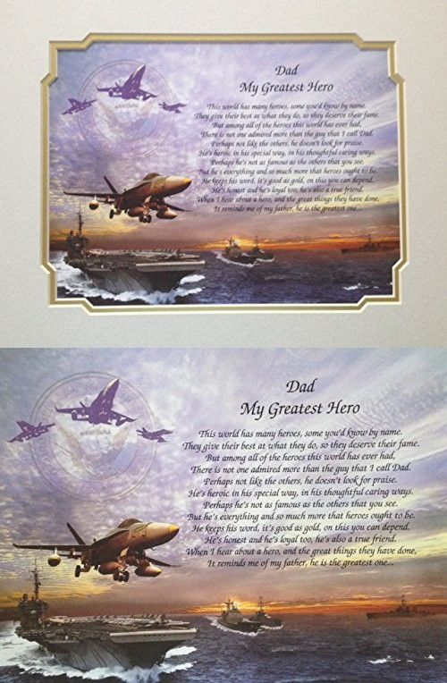 Navy Gift For Dad My Greatest Hero Sentimental Poem Veterans Day Birthday Sailor Gifts