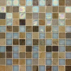Studio E Edgewater Summerland 1 In X 1 In 11 3 4 In X 11 3 4 In Glass And Slate Wall Floor Mosaic Tile Mosaic Floor Tile Slate Wall Mosaic Tiles