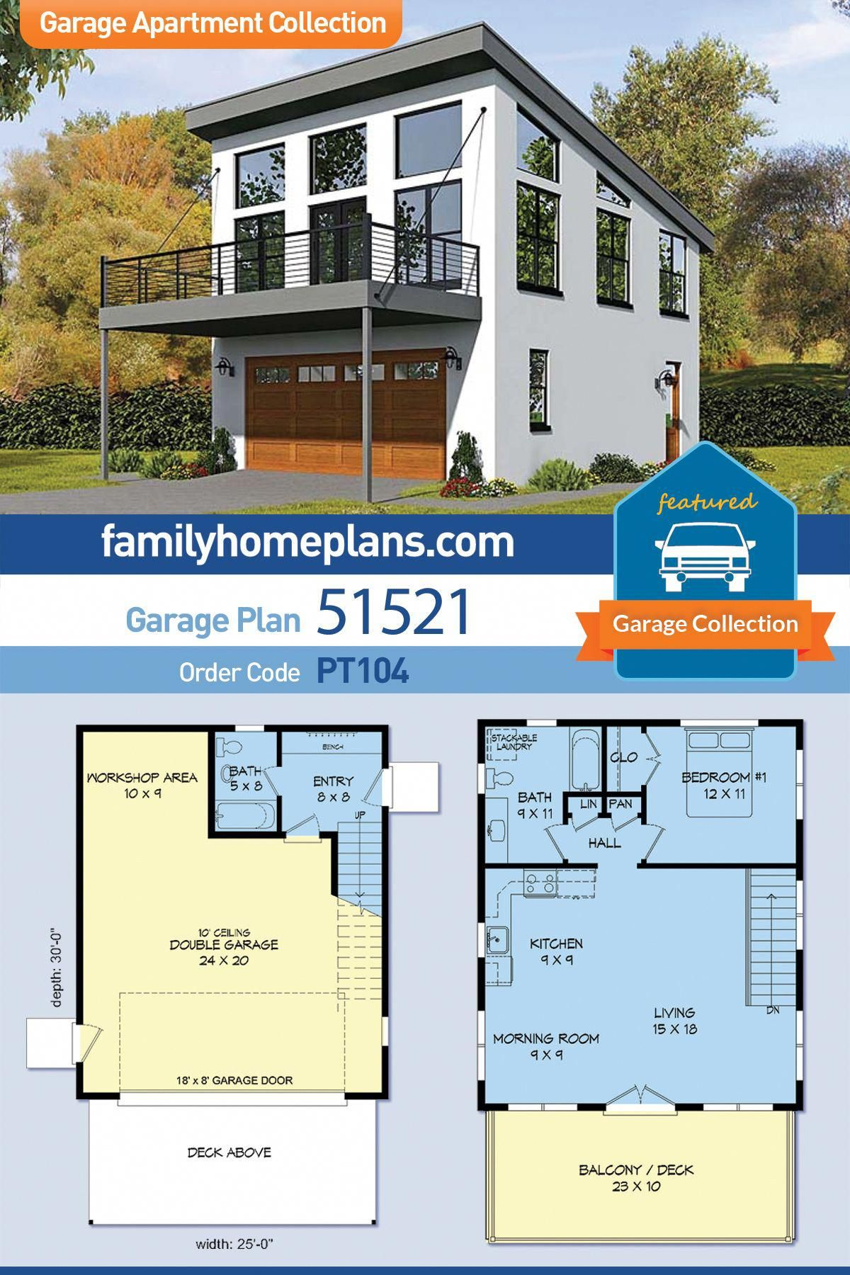 Modern Or Contemporary Style Of Design In This Two Car Garage With 750 Square Feet Of Living Carriage House Plans Garage Plans With Loft Garage Apartment Plan