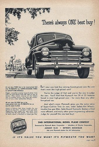 Vintage Automobile Advertising 1948 Plymouth If It S Value You Want From Por Science Magazine June
