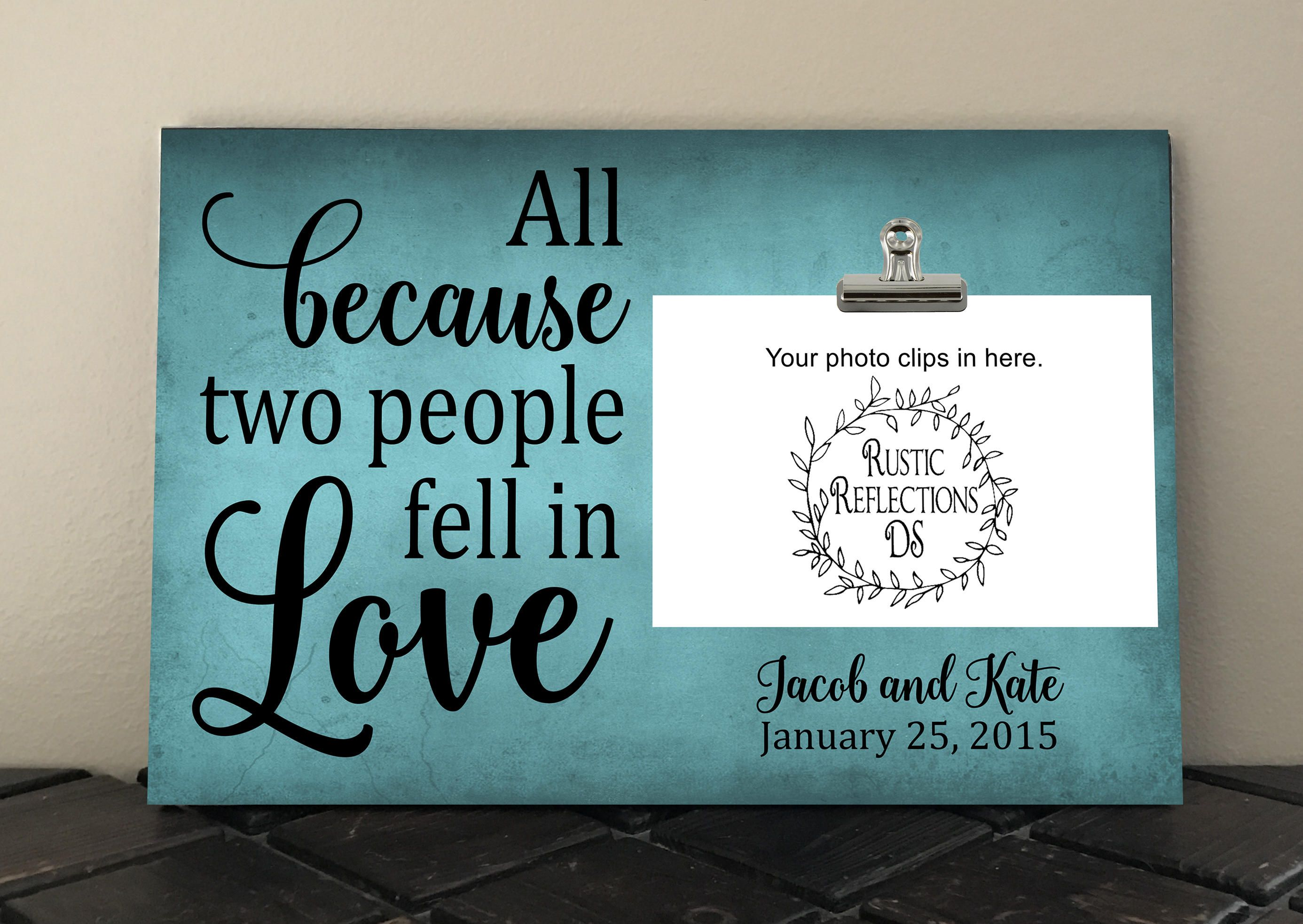 WEDDING gift, Bride and Groom, All because two people fell in love ...